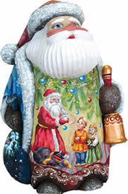 Artistic Wood Carved Santa Claus Toy Giver with Kids Sculpture