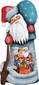 Artistic Wood Carved Toy Giver Santa Claus Sculpture