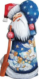 Artistic Wood Carved Guarding Stars Santa Claus Sculpture