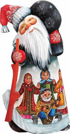 Artistic Wood Carved Santa Claus Midnight Dance Party Sculpture