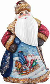 Artistic Wood Carved Downhill Dancing Santa Claus Sculpture