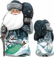 Artistic Wood Carved Santa Claus Whispering Nights Sculpture