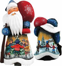 Artistic Wood Carved Santa Claus Winter Day Delight Sculpture