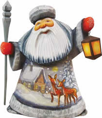 Artistic Wood Carved Kind Deer Santa Claus Sculpture