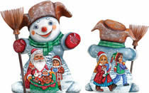 Artistic Wood Carved Snowman Present For You Santa Sculpture