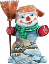 Artistic Wood Carved Snowman Snowy Memory Sculpture