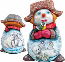 Artistic Wood Carved Polar Bears and Bird Snowman Sculpture