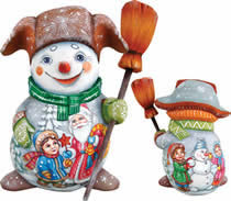 Artistic Wood Carved Santa Claus and Snowman w/ Kids Sculpture