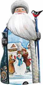 Artistic Wood Carved Childhood Friends Snowman & Santa Claus Sculpture