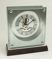 Stainless Steel Skeleton Clock w/ Piano Finish Walnut Base