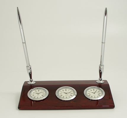 The Chrome Three Time Zone Desk Clock W Two Pens On Rosewood Base Measures 1 25 H X 8 4 D It Comes With Blank Engraving Plates