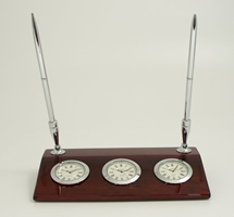 Chrome Three Time Zone Desk Clock w/ Two Pens on Rosewood Base