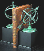 Verdigris Brass Sundial Bookends w/ Wooden Base