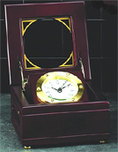 Solid Brass Gimbal Quartz Clock in Mahogany Wood Box