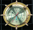 Brass Ship's Wheel Quartz Tide & Time Clock