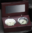 Silver Plated Clock w/ Compass in Wood Box