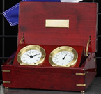 Brass Quartz Clock & Thermometer Weather Station in Rosewood Box