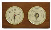 Brass Quartz Clock & Barometer/Thermometer on Oak