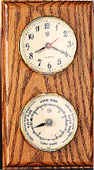 Brass Quartz Clock & Tide Clock on Oak Weather Station