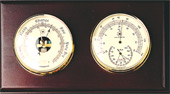 Brass Barometer & Thermometer/Hygrometer on Mahogany Weather Station
