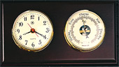 Brass Quartz Clock & Precision Barometer on Mahogany Weather Station