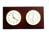 Brass Quartz Clock & Thermometer/Hygrometer on Mahogany