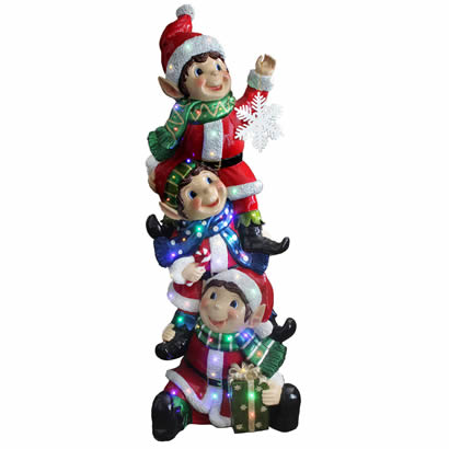 59 In. Stacking Elves Christmas Decor - Multi LED - Indoor/Outdoor