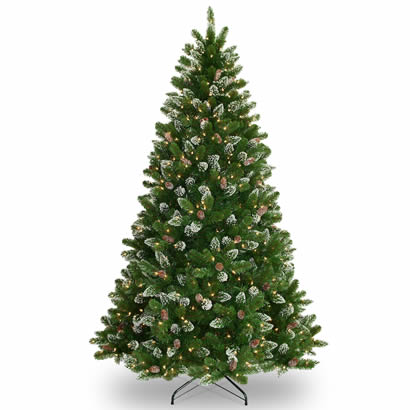 7 1/2 Ft. Crystal Spruce Christmas Tree w/ Cones & 700 Clear Lights