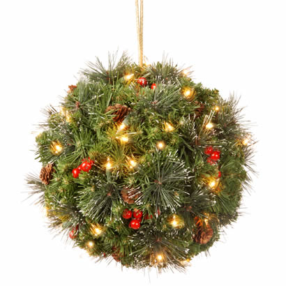 16 In. Crestwood Spruce Kissing Ball with Cones and Berries w/ Lights