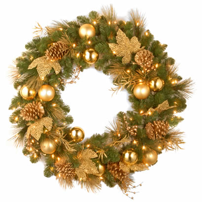 36 In. Elegance Christmas Wreath with 100 Clear Lights