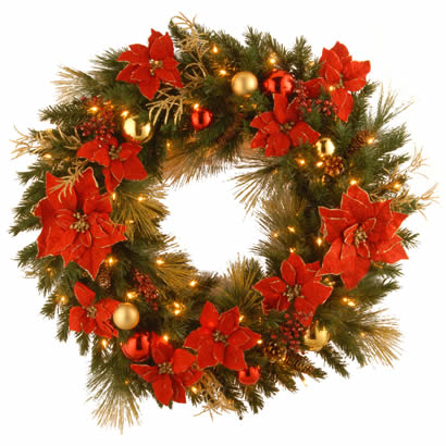 36 In. Home Spun Christmas Wreath with 100 Clear Lights