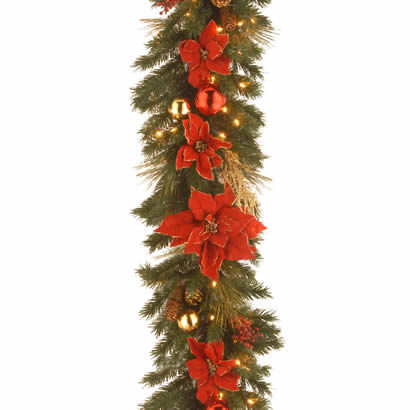 9 Ft. x 12 In. Home Spun Christmas Garland with 100 Clear Lights