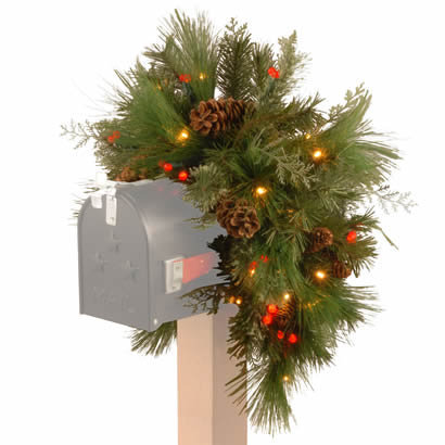 36 In. Pine Christmas Mailbox Swag Garland w/ 63 White & Red LEDs