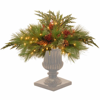 30 In. White Pine Christmas Vase Decoration with 135 Clear Lights