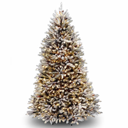 8 Ft. Dunhill Fir Christmas Tree w/ Snow, Cones and 800 Clear Lights