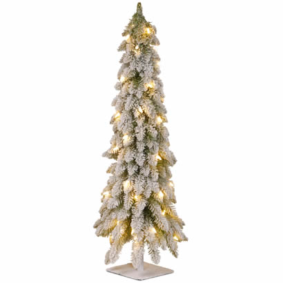 48 In. Snowy Christmas Forstree w/ Metal Plate & 100 Clear Lights