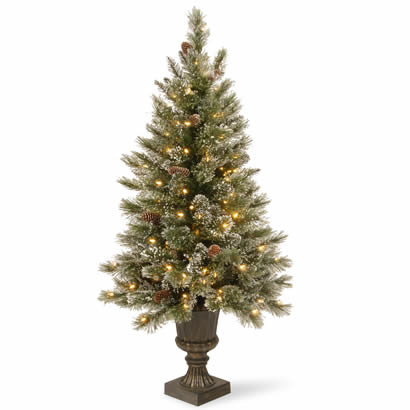 measures 5 feet tall with 30 inch diameter indoor or outdoor use trimmed with white tipped pine cones and glitter pre lit with 150 ul listed