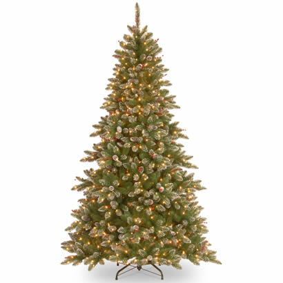 7 1/2 Ft. Glittery Spruce Christmas Tree w/ Cones & 750 Clear Lights