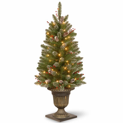 4 Ft. Glittery Spruce Entrance Christmas Tree w/ 70 Clear Lights