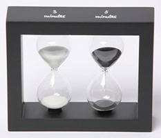 Contemporary 3 & 5 Minute Sand Timers in Black Wood Frame