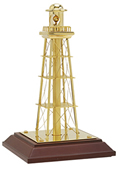Solid Polished Brass Lighthouse w/ Wood Base