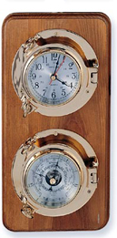 Two Instrument Brass Porthole Weather Station on Oak Wood Base