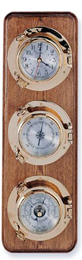 Three Instrument Brass Porthole Weather Station on Oak Wood Base