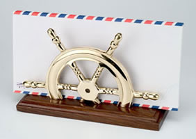 Brass Ship Wheel Letter Holder