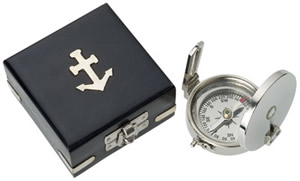 Nickel Plated Brass Scout Compass w/ Wood Box