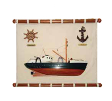 Canvas Wall Plaque w/ Boat, Anchor & Ship Wheel