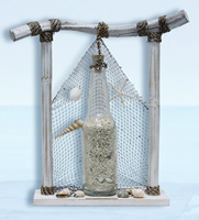 Sea Treasure w/ Glass Bottle, Sand, Shells & Net