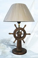 Wood Ship Wheel Lamp