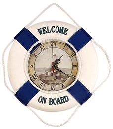 Welcome On Board Life Ring Clock