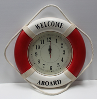 Red/White Welcome Aboard Life Ring Clock
